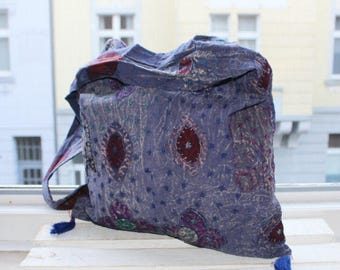 Indian Hippie Bag, indigo, elephant patchwork