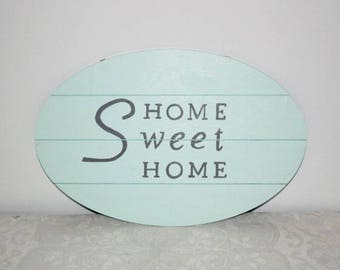 Wooden sign, home decoration, Home Sweet Home, ice blue, hand painted