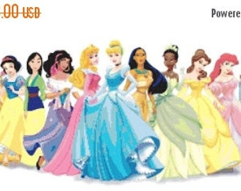 """ON SALE Counted Cross Stitch Patterns - All princesses Disney incluse Anna and Elsa - 33.21"""" x12.14"""" - L009"""