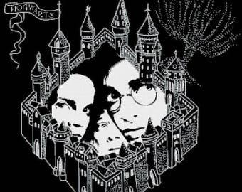 """marauder map Counted Cross Stitch Harry Potter Pattern modern cross stitch, needlepoint - 19.71"""" x 19.71"""" - L1453"""