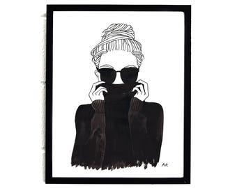Fashion Girl Print/ Fashion Girl Wall Art/ Fashion Sketch/ Fashion Illustration/ Fashion Girl Poster/ Minimalist Fashion Print/ Fashion Art