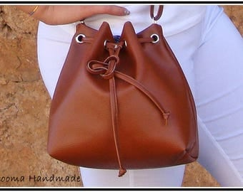 Small leatherette brown bucket bag brown bucket bag Mini bucket bag