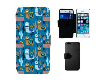 Wallet case Samsung Galaxy S8 Plus, S7 S6 Edge, S4 S5 Mini, Lama Alpaca flip iPhone X, 8, 7, 6S, 6, Plus, SE, 5S, 5C, 5, 4S 4 gifts. F341