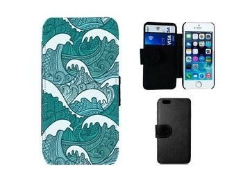 Surf Wallet phone case, iPhone 6, 6S, 7 8 Plus X SE 5S 5C 5 4S, Samsung Galaxy S8 S7 S6 Edge Plus S5 S4 Mini Note 5 ocean waves gifts. F58