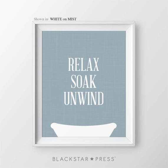 Powder Room Wall Decor relax soak unwind navy blue bathroom decor powder room art