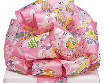 "2.5"" x 20yds Easter Bunnies on Pink Wired Ribbon/Wreath Supplies/Easter Decoration/ 9724655"