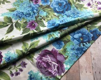 Fabulous Vintage Curtain Panel - Richly Colored - Aqua Blue Purple - 1 Yard