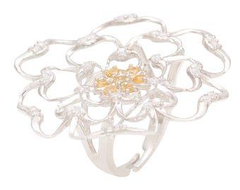 Sparkling Drop 925 Sterling Silver Rose Petal Ring SDFCC006