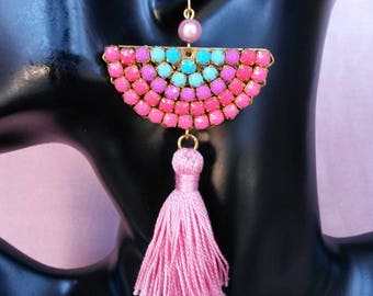 Earrings fan, crystals and tassels