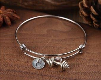 Dumbbell Bangle, Weightlifting bangle, Dumbbell Bracelet, Dumbbell Jewelry, Charm Bracelet,Jewelry, Personalized Bangle, Birthstone bracelet
