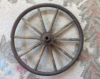 Old wooden & metal wheel
