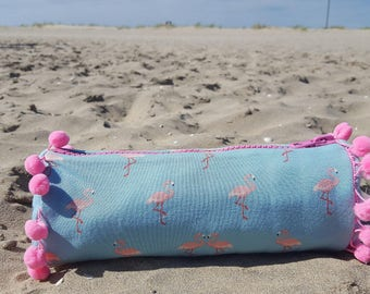 Pale pink SWEATY sky blue and pink tassel pouch