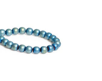 65 beads hematite 6mm color blue green
