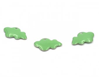 10 enameled charms 25mm light green clouds