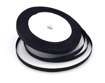 22 6mm black satin ribbon