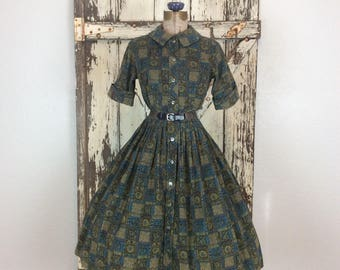Vintage 1950s Jeune Leique Blue and Olive Novelty Corduroyed Button Down Full Dress Dead Stock Small 27 Waist