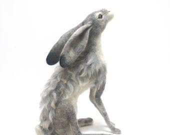 Large Moon Gazing Needle Felt Hare