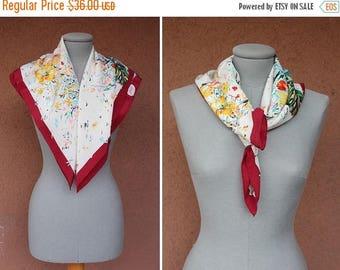 Summer Sale ON SALE! 1960's Bally Silk Square Scarf - Bally Silk Handkerchie