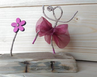 Reclaimed Wood Wire Sculpture Ballet dancer Ballerina Vintage Wood French Style Art Gift Daughter