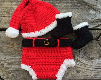 Newborn Santa outfit, Crocheted Santa Elf Hat Diaper cover Black Santa Boots. Newborn photo prop. Christmas Baby Boy Outfit.  Made to order
