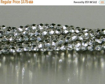 ON SALE Fire Polish, Silver, 2 mm Round Bead, (27000), 50 count