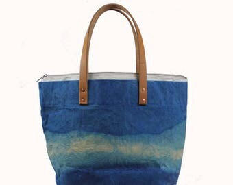 Large Waxed Cotton Canvas Tote Bag w/Liner - Blue - Leather Handles