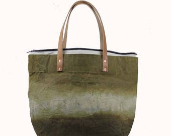 Large Waxed Cotton Canvas Tote Bag w/Liner - Gold/Green - Leather Handles