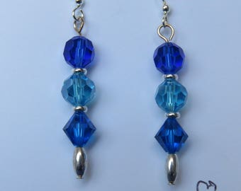 Blue crystal dangles with silver bead earrings