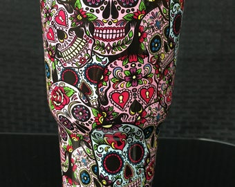 30 oz Sugar Skull Stainless Steel Tumbler with 100% Splash Proof Lid-Double-Wall Insulated Tumbler for Hot & Cold Drinks-Sweat-Free Tumbler