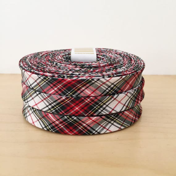 """Kaufman Sevenberry Ivory and Red Tartan Plaid Cotton 1/2"""" double-fold bias tape- Holiday collection- 3 yard roll"""