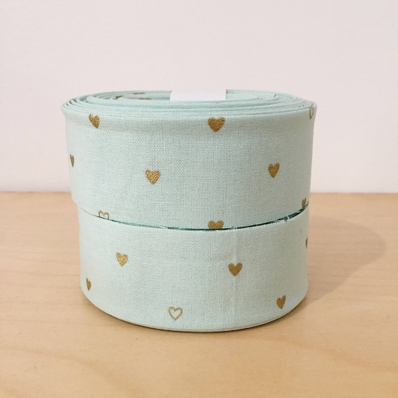 "Mint Green and Metallic Gold Hearts Quilt binding- 1.25"" double-fold cotton- 6 yard roll"