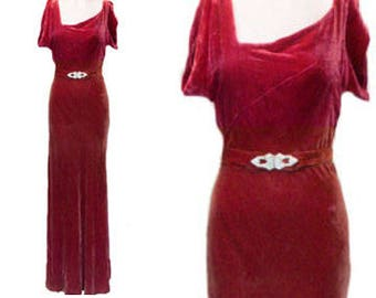 1930's Silk Bias Cut Velvet Gown ~ Cranberry Red