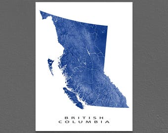 British Columbia Map Print, BC Province Map, Canada, Landscape Art