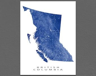 British Columbia Map Print, BC Province Map, Canada, Landscape Art