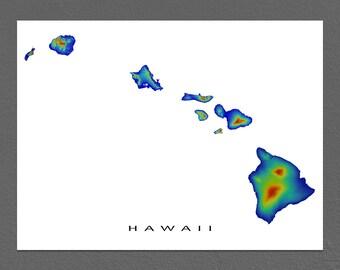Hawaii Map Art, Hawaiian Islands, Landscape Art, Rainbow Print, Maui Oahu Kauai