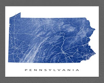 Pennsylvania Map, Pennsylvania Art, USA State Outline Maps