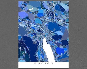 Zurich Map Print, Zurich Switzerland City Art Poster, Europe