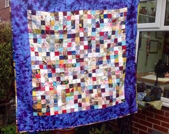 REDUCED Patchwork quilt, throw, lap quilt, baby mat.  Liberty, Laura Ashley, batik vintage fabrics.