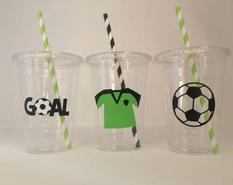 Soccer Party Cups, Soccer Birthday Party Cups, Soccer Team Party, Soccer Baby Shower Cups, Soccer Party Favor Cups