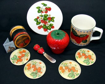 Vintage strawberry lot-beautiful strawberries collection-cup plate jar box trivet