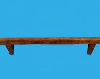"48"" by 5-3/4"" by 1-3/4"" barn wood beam shelf with barn wood corbels -685-48"