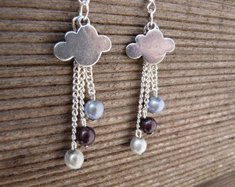 Beads and silver clouds earrings