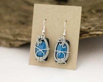 Blue Fused Glass Earrings - Silver Wire Wrapped Earrings - Statement Earrings - Bold Earrings - Colorful Jewelry - Wearable Art Jewelry