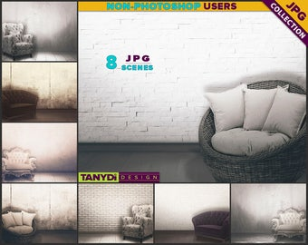 Living Room VRC2 | Vintage Armchair Interior | 8 JPG Blank Living Room Wall Styled Scenes | Wall Decor Scene Creator