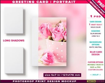 Greeting Card 5x7 | Photoshop Print Mockup | Portrait Card on White & Blurred Background | Long shadows | Smart object Custom colors