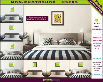 8x10 Wooden Frame on Bedroom Wall | Non-Photoshop | 8 PNG Scenes 810-BRC1 | Portrait Landscape | Light & Dark wooden frames