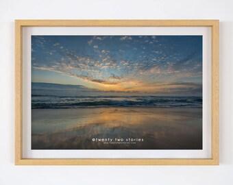 Ocean Sunrise - Australian Beach Photography Print. Ocean Wall Art Print, Sunrise Beach Photography, Home Decor Print, Sydney Print