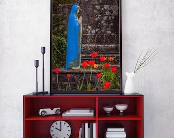 "Ireland Poster ""Virgin Mary at Ireland's Quin Abbey"" Ireland Print, Catholic Art, Ireland Art, Religious Art, Wall Art"