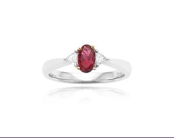 Platinum and 18K Yellow Gold .43ctw Red Emerald & .14ctw Diamond Ring