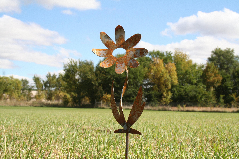Twisted Metal Flower Stake Garden Gift Rustic Flowers
